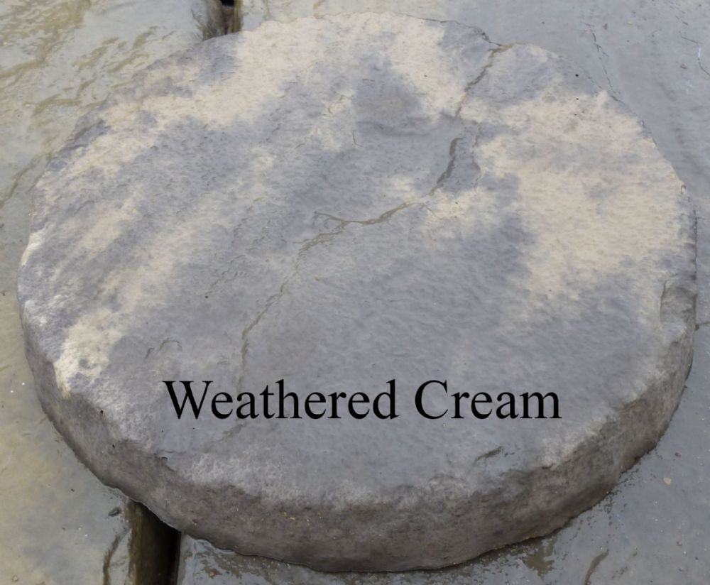 300mm Dia Yorkstone Stepping Stones Weathered Cream (1)